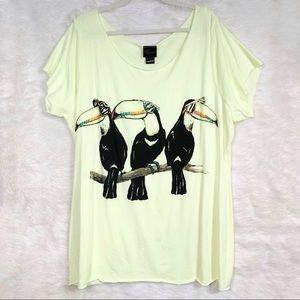 Torrid Neon Yellow Toucan Graphic T-shirt size 2